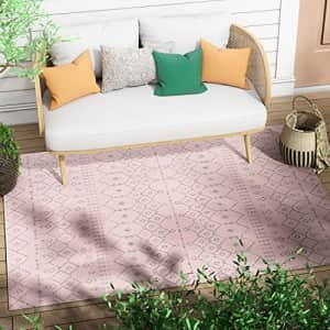 """Well Woven Nors Blush Pink Indoor/Outdoor Flat Weave Pile Nordic Lattice Pattern Area Rug 5x7 (5'3"""" for $48"""