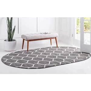 Unique Loom Trellis Frieze Collection Lattice Moroccan Geometric Modern Oval Rug, 3 x 5 Feet, Dark for $28
