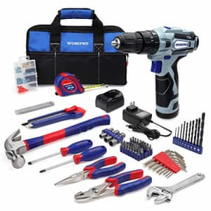 WORKPRO 12V Cordless Drill and Home Tool Kit, 177 Pieces Combo Kit with 14-inch Tool Bag for $113
