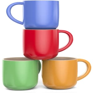 4 Francois et Mimi Jumbo 18-oz. Wide-Mouth Soup & Cereal Ceramic Coffee Mugs for $16