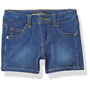 GUESS Girls' Little Stretch Denim Shorts, Medium Washed, 5 for $25