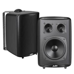 Moukey 3-Way Bookshelf Speaker Pair for $39