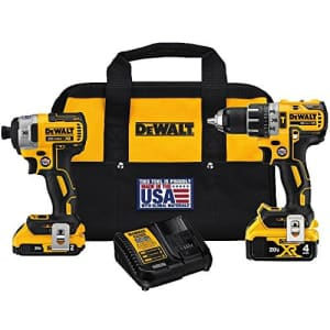 DeWalt 20V MAX XR Cordless Brushless Hammer Drill and Impact Driver Kit for $337