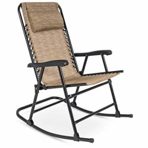 Best Choice Products Foldable Zero Gravity Rocking Mesh Patio Lounge Chair w/Headrest Pillow - Beige for $116