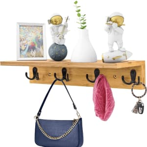 Bestrella Wall Mounted Shelf with Hooks for $14