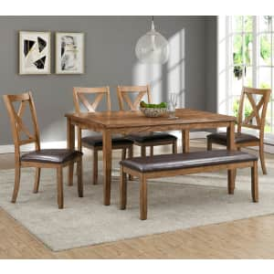 Abbyson Living Reese 6-Piece Rubberwood Dining Set w/ Bench for $599 for members