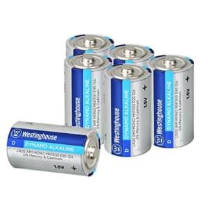 Westinghouse Alkaline D Batteries (Bulk Pack 6 Count), Leak-Proof & Long-Lasting Technology Size D for $17
