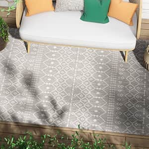 Well Woven Nors Light Grey Indoor/Outdoor Flat Weave Pile Nordic Lattice Pattern Area Rug 8x10 for $90