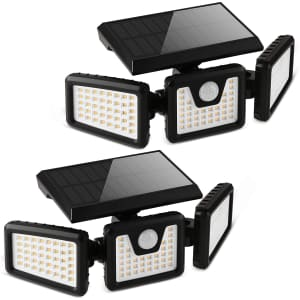 Otdair 3-Head Solar Security Flood Lights 2-Pack for $36