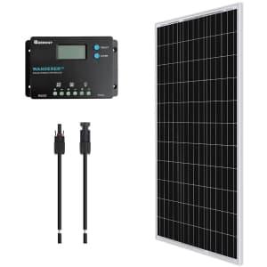 Renogy 100W 12V Monocrystalline Solar Bundle Kit for $110