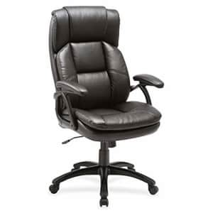 """Lorell Black Base High-Back Leather Chair, 44.5"""" x 27"""" x 32"""" for $239"""