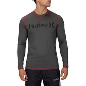 Hurley Men's One & Only Long Sleeve Sun Protection Rashguard Shirt, Iron Grey, S for $34