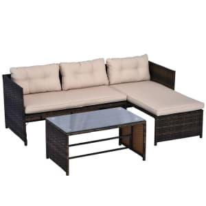 Outsunny 3-Piece Patio Sofa Set for $226