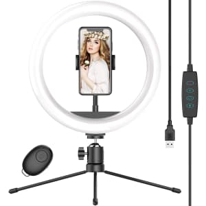 """Waulnpekq 10"""" Selfie Ring Light with Tripod Stand for $13"""