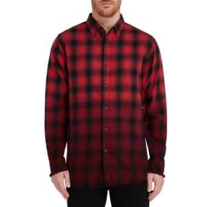 Epic Men's Raw Hem Dip Dye Plaid Flannel Shirt for $18