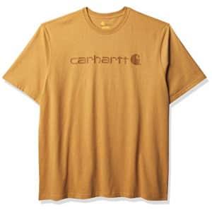 Carhartt Men's Big & Tall Signature Logo Short-Sleeve Midweight Jersey T-Shirt K199, Yellowstone for $23