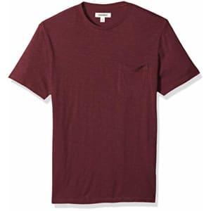 Amazon Brand - Goodthreads Men's Lightweight Slub Crewneck Pocket T-Shirt, Burgundy, X-Small for $15