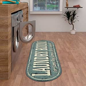 """Ottomanson Laundry Collection Area Rug, 20""""X59"""" Oval, Grayish Blue Design for $21"""