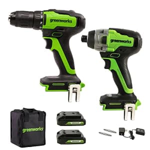 Greenworks 24V Brushless 310 in./lbs Drill / Driver + 1900 in./lbs Impact Driver Combo Kit, (2) USB for $190