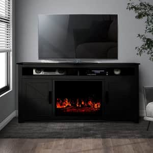 Coidak Barn Door TV Stand with Built-in Electric Fireplace for $120