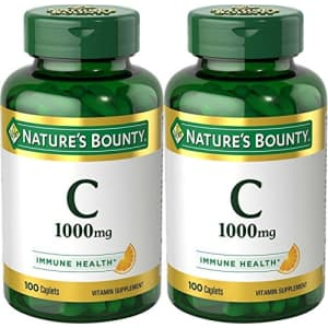 Nature's Bounty Vitamin C Pills and Supplement, Supports Immune Health, 1000mg, 100 Caplets, 2 Pack for $37