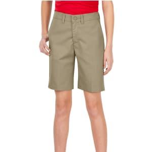 Dickies Girls' Plus FlexWaist Slim Fit Flat Front Shorts for $4