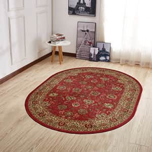 """Ottomanson Collection Traditional Oriental Design Non-Slip Area Rug, 5' X 6'6"""" Oval, Red Persian for $64"""