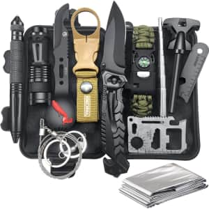 12-in-1 Emergency Survival & Camping Kit for $22