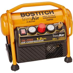 BOSTITCH Air Compressor for Trim, Oil-Free, High-Output, 1.2 Gallon, 120 PSI (CAP1512-OF) for $182