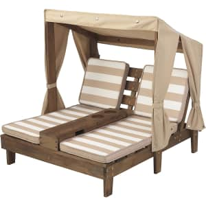 KidKraft Kids' Outdoor Wooden Double Chaise Lounger with Cup Holder for $100