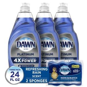 Dawn Platinum 24-oz. Dishwashing Liquid 3-Pack w/ 2 Sponges for $13 via Sub & Save