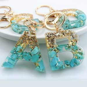 IntoResin Resin Keychain Initials Keyring for $4