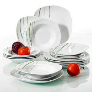Veweet Aviva 18-Piece Porcelain Dinnerware Set for $48