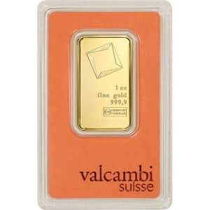 Valcambi Suisse 1-oz. Gold Bar w/ Assay Card for $1,898