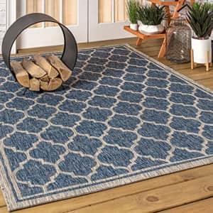 JONATHAN Y Trebol Moroccan Trellis Textured Weave Indoor/Outdoor Navy/Gray 5 ft. x 8 ft. Area Rug, for $84