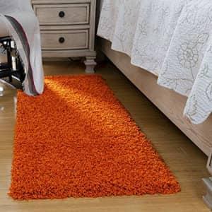 "Ottomanson Shag Collection Area Rug, 20"" x 59"", Orange for $104"