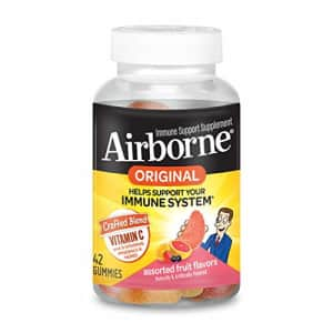 Vitamin C 750mg (per serving)- Airborne Assorted Fruit Flavored Gummies (42 count in a bottle), for $12