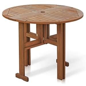 Furinno FG17035 Tioman Hardwood Patio Furniture Gateleg Round Table in Teak Oil, Natural for $353
