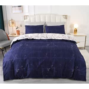 Qucover 3-Piece Queen Geometric Pattern Duvet Cover for $30