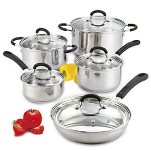 Cook N Home 10-Piece Stainless Steel Cookware Set for $67