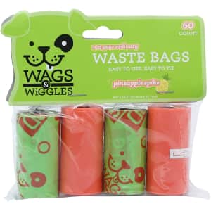 Wags & Wiggles Large Scented Dog Waste Bags 60-Count for $2
