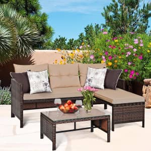 Costway 3-Piece Rattan Wicker Sectional Sofa Set for $298
