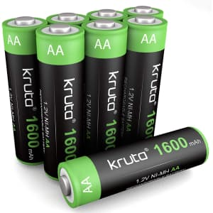 Kruta Ni-MH AA Rechargeable Battery 8-Pack for $9