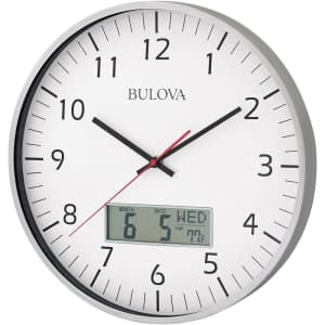 """Bulova Manager 14"""" Round Wall Clock w/ LCD for $30"""