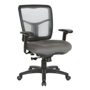 Office Star Fabric Seat and Mesh Back Manager's Chair with Adjustable Arms, Grey for $121