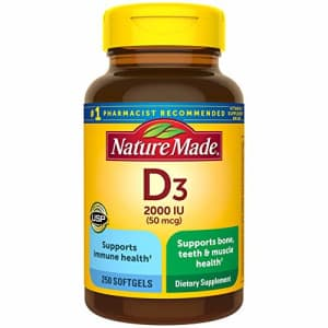 Nature Made Vitamin D3 2000 IU (50 mcg) Softgels, 250 Count Everyday Value Size for Bone Health for $15