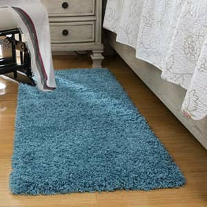 """Ottomanson Shag Collection Area Rug, 20"""" x 59"""", Turquoise for $33"""