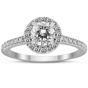 Szul Signature Quality 1-tcw Diamond Halo Ring in 14K White Gold for $877