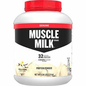 Muscle Milk Genuine Protein Powder, Vanilla Crme, 32g Protein, 4.94 Pound, 32 Servings for $60