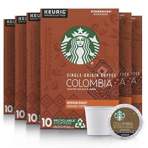 Starbucks Medium Roast K-Cup Coffee Pods Colombia for Keurig Brewers 6 boxes (60 pods total) for $46